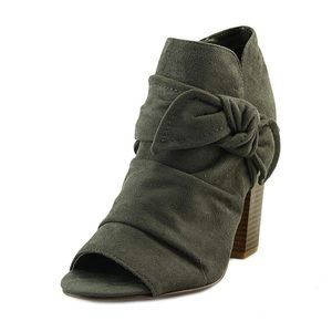 Indigo Rd. Olive Green Bow Peep Toe Bootie